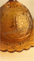 """Antique Amber Glass Covered Butter Dish 7 1/2"""""""