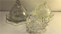 Vintage Clear Cut Butter dishes each  6""