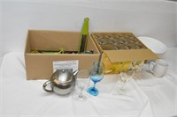 (12) Matching Wine Glasses, Bowl, Cutlery,