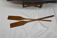 "Wooden Boat 28"" Long with Oars"