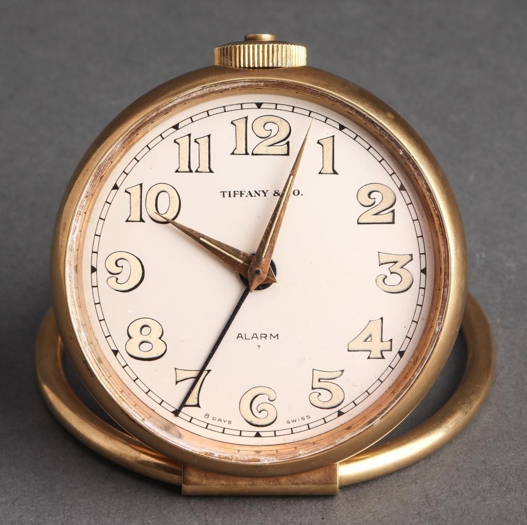 Tiffany Co Art Deco Style Brass Alarm Clock Showplace