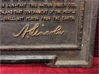 Lincoln's Gettysburg Speech Cast Iron Plaque-Notes