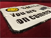 Cast Iron Smile Your on Camera Plaque / Sign
