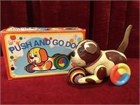 """Push and Go 6"""" Tin Toy Dog"""