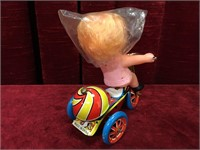 Wind-up Tin Girls Tricycle Toy
