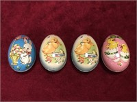 4 Vintage Tin Easter Eggs - Made in England