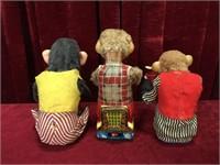 3 Vintage Mechanical Monkeys - As Is
