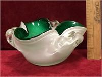 "Vintage Art Glass Ashtray - 6""dia"