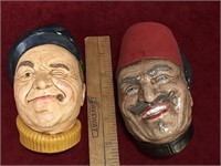 Vintage Chalkware Heads & Ducks