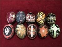 9 Hand Painted Wood Eggs - Ukraine