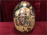 Large Hand Painted Oriental Porcelain Egg