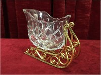 "Crystal & Brass Christmas Sleigh Candy Dish - 8""w"