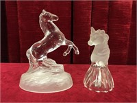 "6.5"" Crystal Horse Paperweight & 5"" Unicorn Bell"