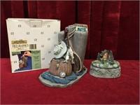 Gone Fishing Coin Bank & Cottage Trinket Box