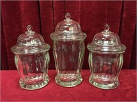 Heavy Glass 3pc Canister Set