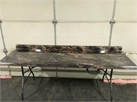 """77"""" Marbled Cappuccino Gloss Counter Top"""