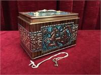 Vintage Pressed Tin Coin Box w/ Key