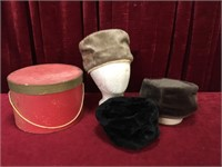 3 Vintage Ladies Fur Hats w/ Hat Box