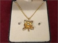 Rose Pendant Necklace & Earrings Set