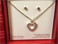 Genuine Crystal Necklace & Earrings Set
