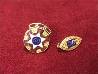 2 Gold Lapel Pins - Marked 10K
