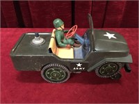 "Vintage Electronic 11"" Army Jeep - As Is"