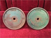 """2 York 25-lb Cast Barbell Weights - 12""""dia"""