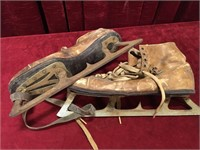 Vintage Leather Skates & Hockey Gloves