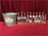10 Vintage Pop Bottles & Galvanized Bucket