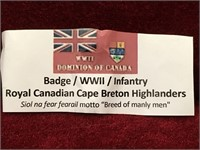 WWII R.C. Breton Highlanders Badge