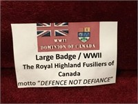 WWII Royal Highland Fusiliers of Canada Badge