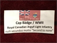 WWII R.C. Argyll Light Infantry Badge