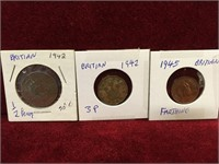 3 WWII British Coins