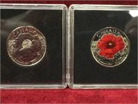 2015 Canada Poppy 25¢ Coins-Coloured & Uncoloured