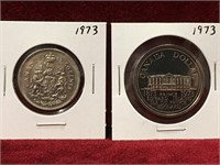 1973 Canada 50¢ & $1 Coins