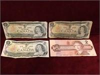 3 1973 Canada $1 & 1 1986 Canada $2 Bank Notes