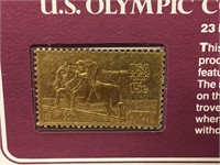 2 1980 23K Gold US Olympic Commemorative Stamps
