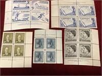 15 Vintage Canada Mint Stamp Blocks