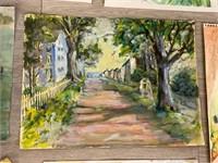 Lot of 8 Unframed Watercolors