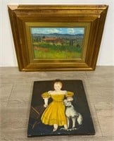 Two Oil Paintings Landscape and Girl With Cat