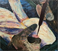 Outsider Art Oil Painting of Rabbit