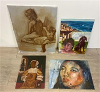 Group of Oil Paintings on Board
