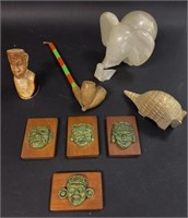 Decorative Carved Lot of Animals and a Bust
