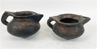 Pottery Basket and Two Pottery Vessels
