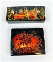 2 Russian Lacquer Palekh Boxes