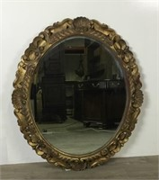 Carved Wooden Oval Mirror