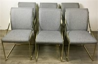 6 Modern Upholstered Brass Dining Chairs