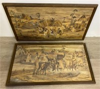 Pair of I Bwabye Wood Art Pieces
