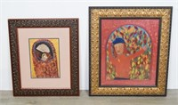 Two Outsider Folk Art Paintings Madonna and Child