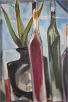 Modern Cubist Still Life Painting by M Bender